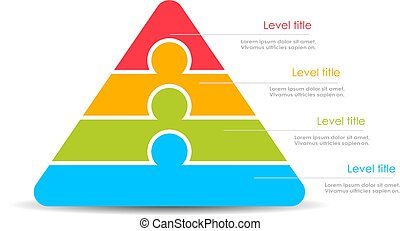 Layered stacked pyramid vector illustration