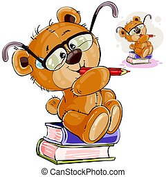 Vector illustration of a brown teddy bear with eyeglasses sits on a pile of books with a pencil in his paws and thinks