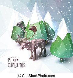 Christmas Greeting Card with Low Poly Illustration - Low...