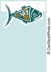 Belly Up Fish - Woodcut style dead fish floating belly up in...