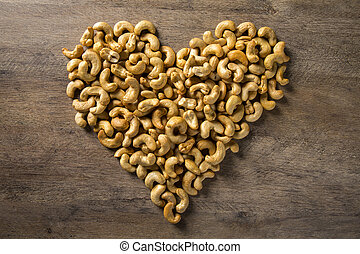 Cashew nuts in the form of a heart