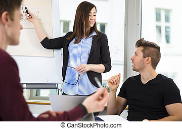 Businesswoman Explaining Graph To Colleagues In Office -...
