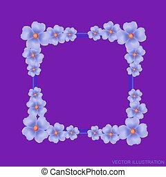 Ilustración, lila, flores,  vector, Plano de fondo, frontera
