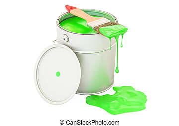 Can with green paint and brush, 3D rendering