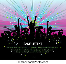 set of group peoples dance vector flyer