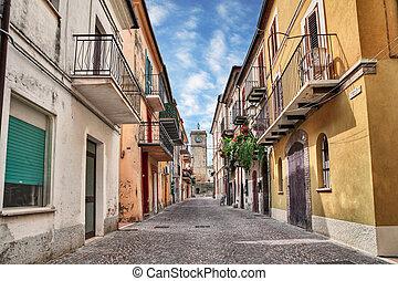 Rocca San Giovanni, Chieti, Abruzzo, Italy: street in the...