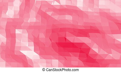 Rosy or pink low poly surface as cybernetic transforming shining background. Polygonal digital mosaic red environment or background in cartoon low poly popular modern stylish 3D design.