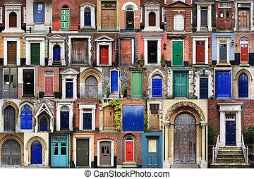 compuesto, frente, puertas