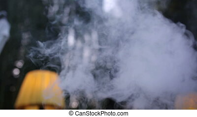 White smoke from a hookah on a background of trees