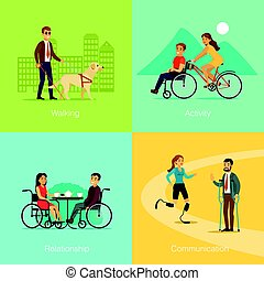 Disabled People Square Concept - Disabled people square...