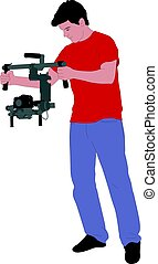 videographer with handheld steadycam illustration