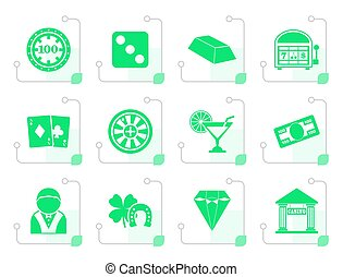 Flat casino and gambling icons - vector icon set