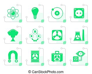 Black Atomic and Nuclear Energy Icons