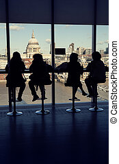 St Paul`s Cathedral, London - Tourists enjoy the view at the...
