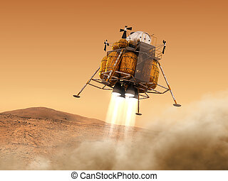 Descent Module Of Interplanetary Space Station Landing on...