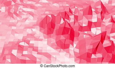 Rosy or pink low poly surface as molecular transforming...