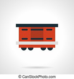 Red railroad container flat vector icon - Symbol of covered...