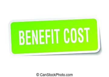 benefit cost square sticker on white