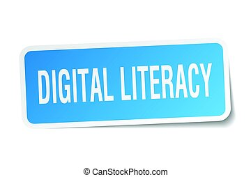 digital literacy square sticker on white