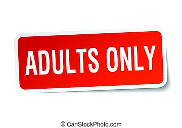 adults only square sticker on white