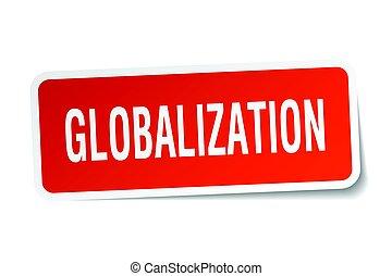 globalization square sticker on white