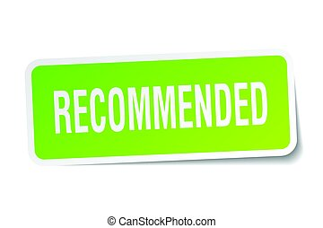 recommended square sticker on white