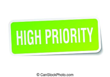 high priority square sticker on white