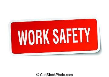 work safety square sticker on white