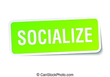 socialize square sticker on white