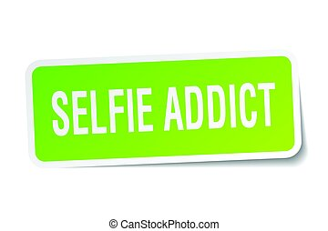 selfie addict square sticker on white
