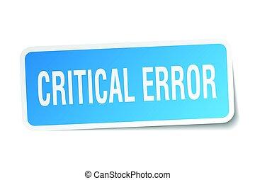 critical error square sticker on white