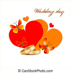 wedding card with rings, hearts and butterflies