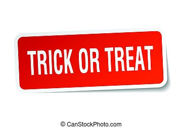 trick or treat square sticker on white