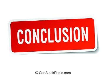 conclusion square sticker on white