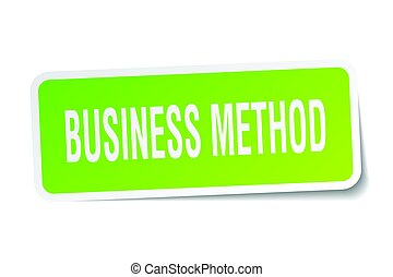 business method square sticker on white