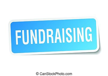 fundraising square sticker on white