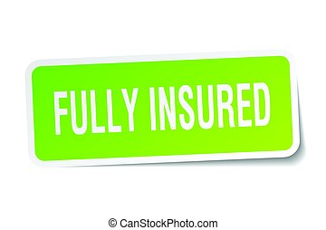 fully insured square sticker on white