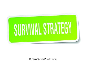 survival strategy square sticker on white