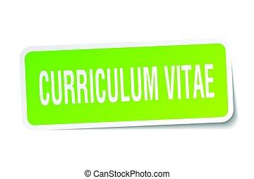 curriculum vitae square sticker on white