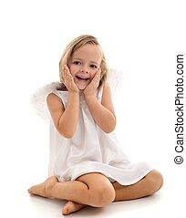 Little surprised angel sitting in wonder - isolated