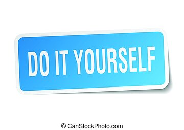 do it yourself square sticker on white