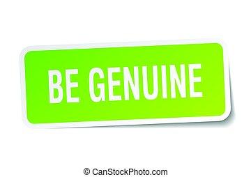 be genuine square sticker on white