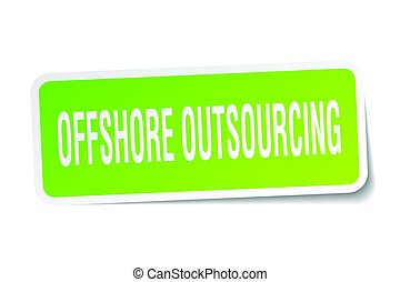 offshore outsourcing square sticker on white