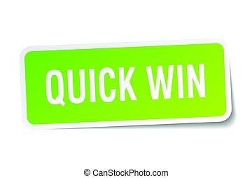 quick win square sticker on white