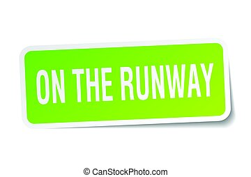 on the runway square sticker on white