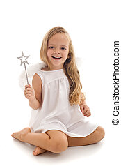 Little fairy angel with magic wand - Little happy fairy or...
