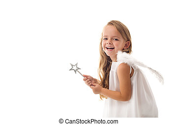 Little fairy angel with magic wand