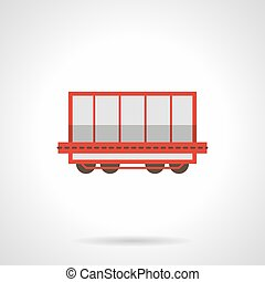 Rail freight wagon flat color vector icon - Symbol of rail...