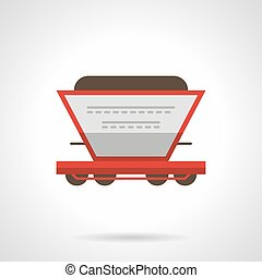 Fertilizer railroad car flat vector icon - Symbol of hopper...