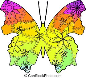Butterfly with transition colors vector